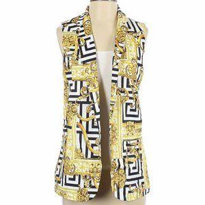 Ovi Small Blazer Vest Gold Black White Geometric